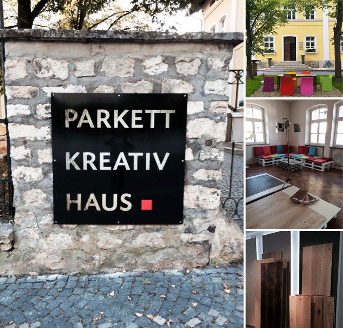 Einfahrtsbereich, Schild und Innenansichten des Parkett Kreativ Hauses